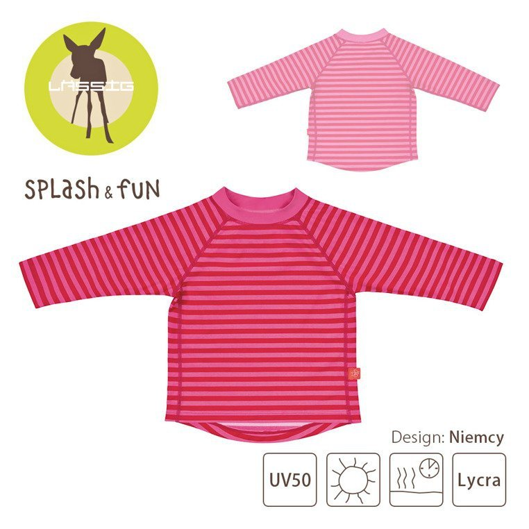 Lassig, Koszulka do pływania z długim rękawem Pink stripes , UV 50+