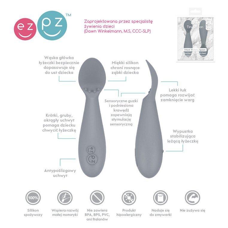 EZPZ Silikonowa łyżeczka Tiny Spoon 2 szt. szara