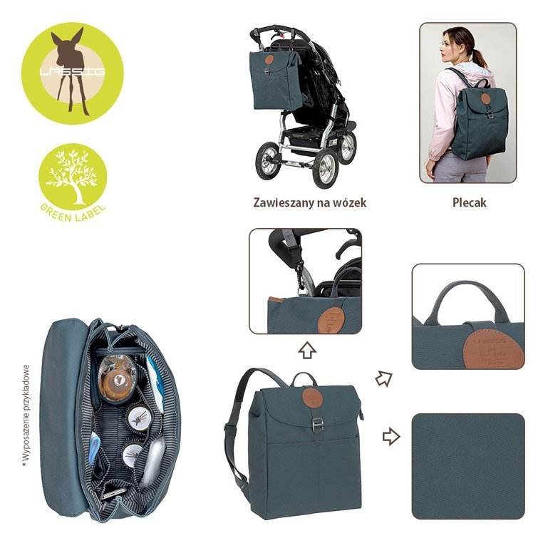 Lassig Green Label Plecak dla mam z akcesoriami Adventure Backpack Petrol