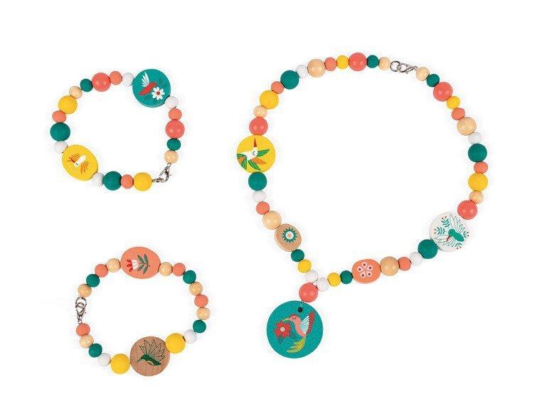 Zestaw do tworzenia biżuterii Drewniane koraliki z elementami fluorescencyjnymi Kolibry, Janod