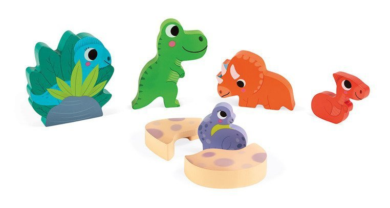Układanka drewniana 3D Zabawa w chowanego Dinozaury, Janod