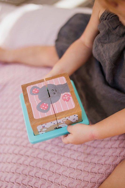 Klocki drewniane Puzzle 6w1 Żyrafka Sophie, Janod