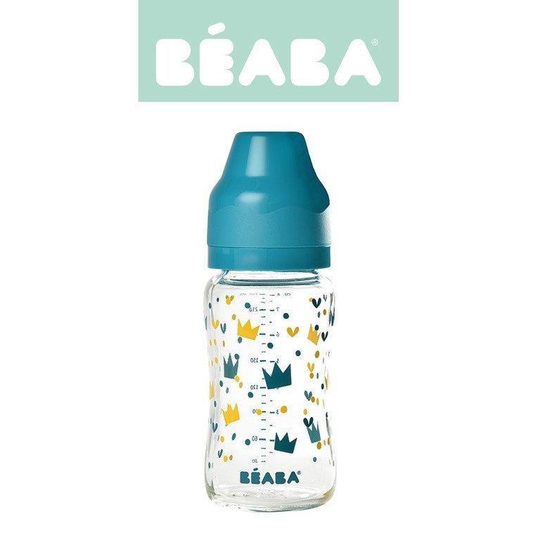 Beaba Butelka szklana szerokootworowa 240 ml Yellow / Blue Crown