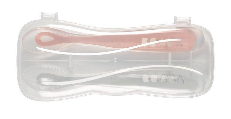 BEABA Zestaw łyżeczek silikonowych 4 m+ Old Pink, 2 szt.