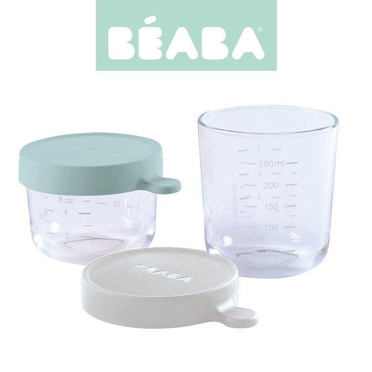 BEABA Zestaw pojemników słoiczków szklanych z hermetycznym zamknięciem 150 + 250 ml airy green i light mist