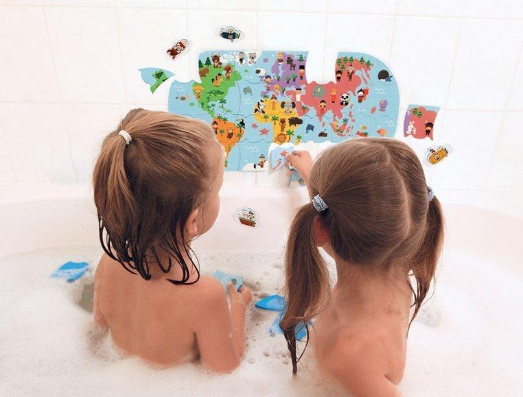 Puzzle do kąpieli Mapa świata 28 elementów 3+, Janod
