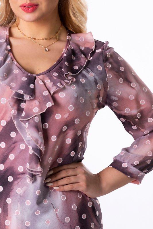 wzorzysta bluzka z falbankami na biuście i tiulowymi rękawami