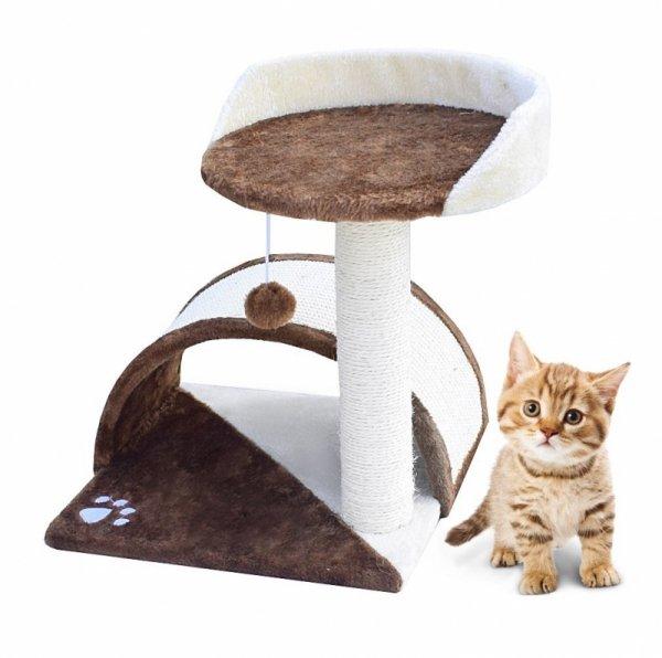 Drapak dla kota Legowisko+Budka biało-brązowy 43cm