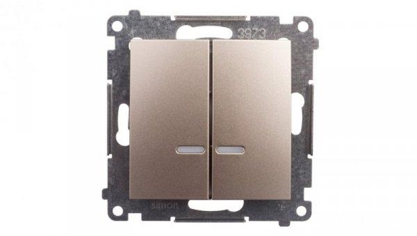 Simon 54 Łącznik bryzgoszczelny świecznikowy IP44 z podświetleniem złoty mat DW5BL.01/44