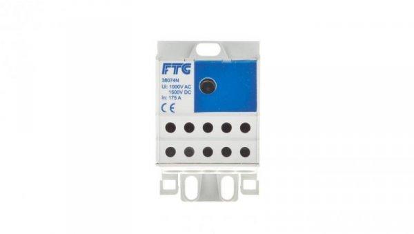 Blok rozdzielczy 1-biegunowy we: 1x16-70mm2 wy: 10x2,5-16mm2 niebieski AUX38074N 82121003