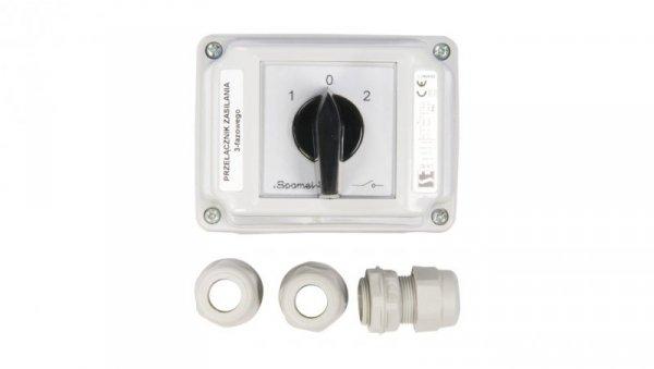 Łącznik krzywkowy 1-0-2 3P 40A w obudowie ŁK40-3.8380OB3