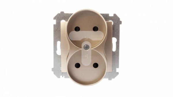Simon 54 Gniazdo podwójne b/u 16A IP20 złoty mat DG2MZ.01/44