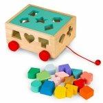 Drewniany wózek sorter z klockami - kostka edukacyjna dla dzieci Ecotoys