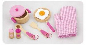 Drewniany zestaw śniadaniowy - pink Viga