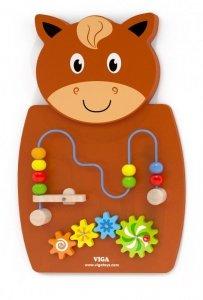 Drewniana sensoryczna tablica manipulacyjna - konik Viga