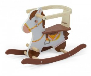 Drewniany koń na biegunach z barierkami Lucky 12 Brown Milly Mally