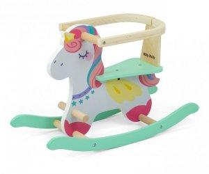 Drewniany koń na biegunach z barierkami Lucky 12 Unicorn Milly Mally