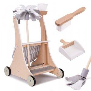 Drewniany wózek do sprzątania drewniany + akcesoria