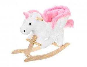 Koń na biegunach bujak 70cm biało-różowy