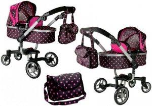 Wózek dla lalek Alice czarny w różowe groszki