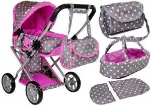 Wózek dla lalek Alice nosidełko+torba Szaro-Różowy