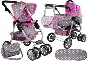 Wózek dla lalek spacerówka 2w1 z torbą gondola Szaro Różowy