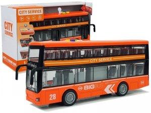 Autobus Dwupiętrowy z Napędem Frykcyjnym Dźwięk Światła 1:16 Pomarańczowy