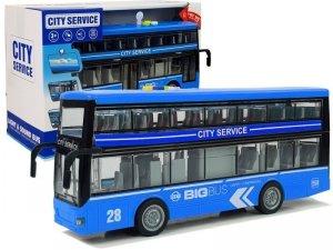 Autobus Dwupiętrowy z Napędem Frykcyjnym Dźwięk Światła 1:16 Niebieski