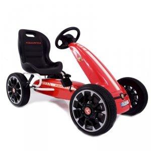 Duży licencjonowany Gokart Fiat Abarth koła EVA czerwony