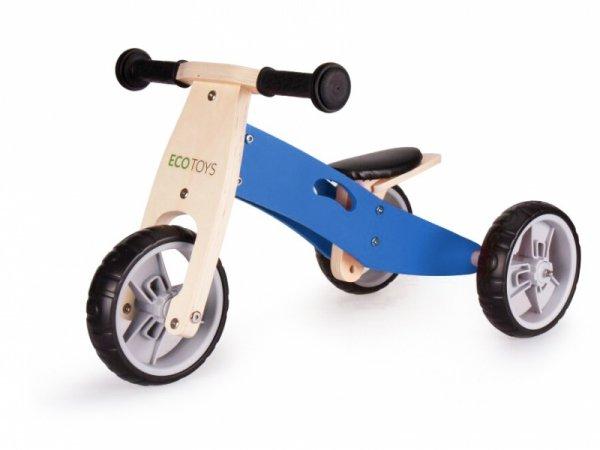 Rowerek biegowy trójkołowy drewniany 2w1 Blue Ecotoys