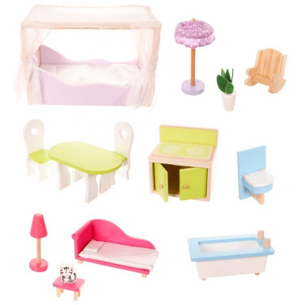 Drewniany domek rezydencja California z ogrodem + lalka gratis Ecotoys
