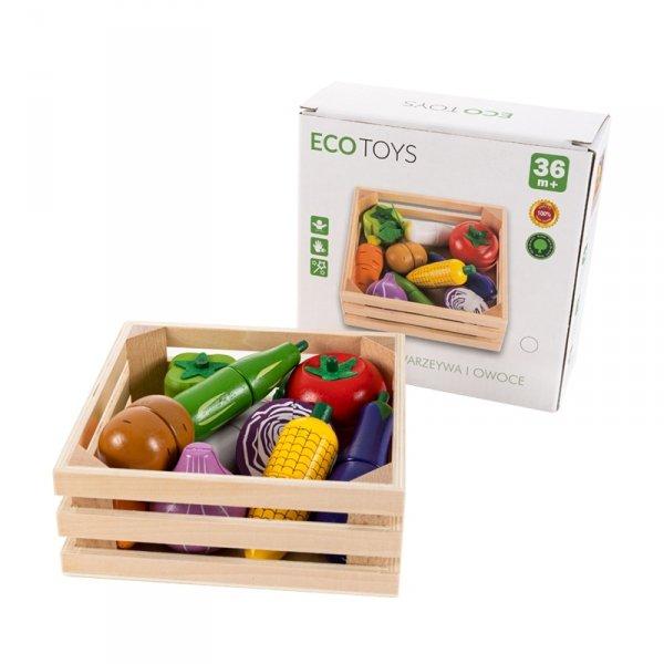 Drewniane warzywa do krojenia na magnes dla dzieci Ecotoys