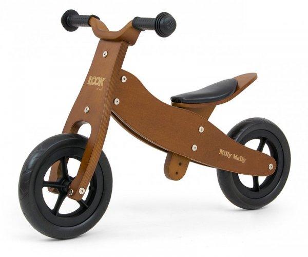 Drewniany rowerek biegowy 2w1 Look Dark Natural Milly Mally