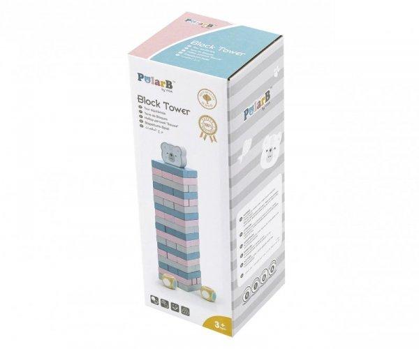 Drewniana gra układanka wieża z Misiem PolarB Viga