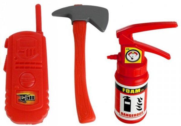 Zestaw Strażaka Straż Pożarna Wóz + Kask + Gaśnica