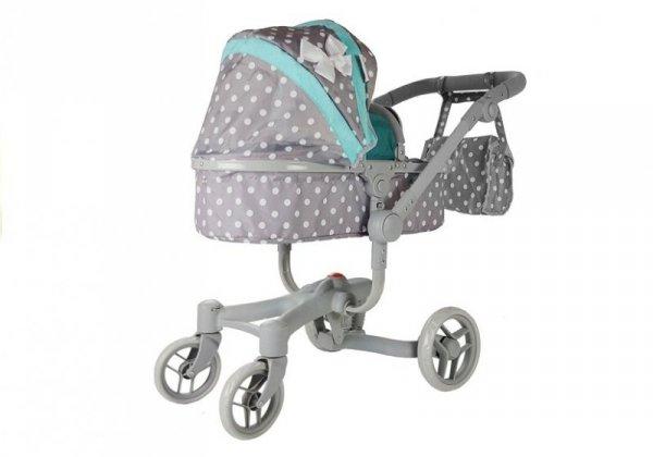 Wózek dla lalek Alice szaro-turkusowy w groszki