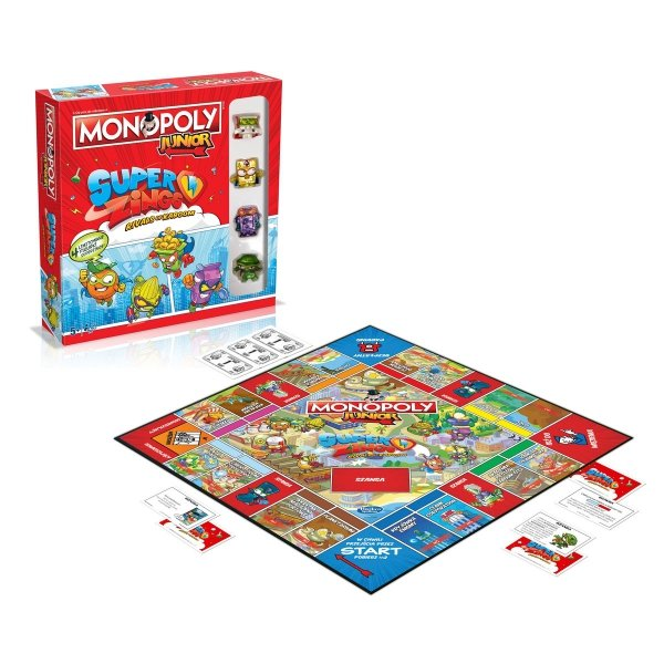 Monopoly Junior SUPER ZINGS gra + 4 figurki