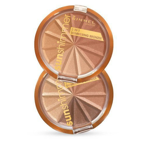 RIMMEL LONDON Sun Shimmer 3in1 Shimmering Bronzer dla kobiet 9,9g (001 Gold Princess)