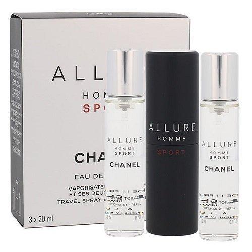 ZESTAW CHANEL Allure Homme Sport Twist and spray woda toaletowa dla mężczyzn 3x20ml spray z wymiennym wkładem