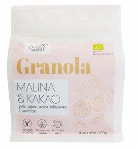 GRANOLA MALINA - KAKAO BIO 200 g - PURE & SWEET
