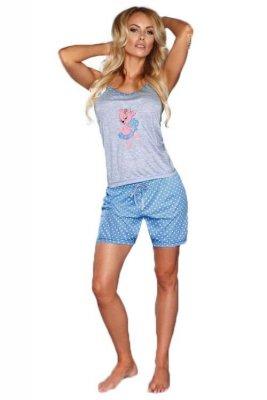 MODEL 723/1 BLUE piżama groszki