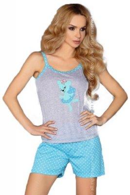 MODEL 723/1 TURQUOISE piżama groszki