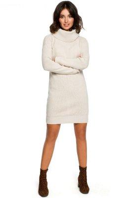 BK010 Swetrowa mini sukienka z golfem - beż