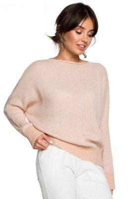 BK015 Sweter o kimonowych rękawach - bladoróżowy