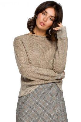 BK015 Sweter o kimonowych rękawach - jasnobrązowy
