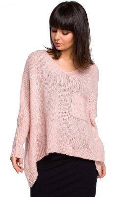 BK018 Luźny sweter z kieszenią - różowy