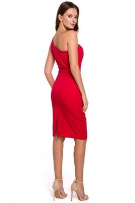 K003 Sukienka na jedno ramię - czerwona