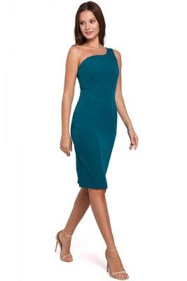K003 Sukienka na jedno ramię - morska