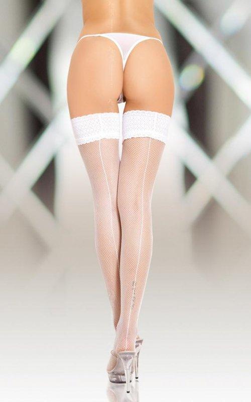 Stockings 5537 - white pończochy kabaretki do paska ze szwem