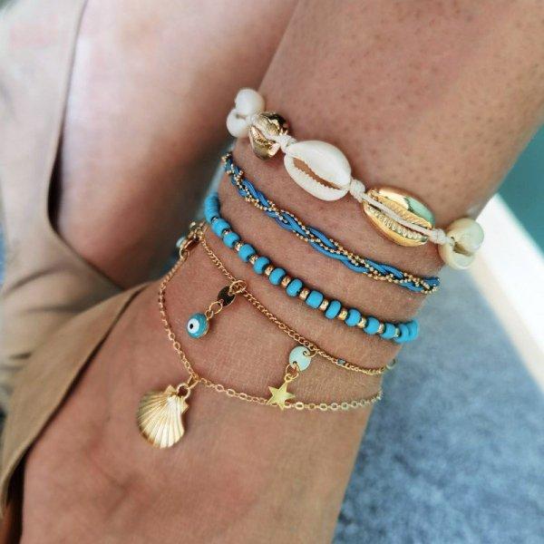 Bransoletka na stopę 5w1 złota koraliki niebieskie B496